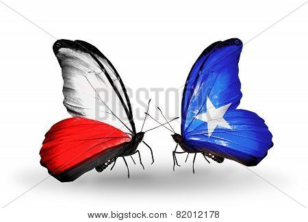 Two Butterflies With Flags On Wings As Symbol Of Relations Poland And Somalia