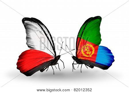 Two Butterflies With Flags On Wings As Symbol Of Relations Poland And Eritrea
