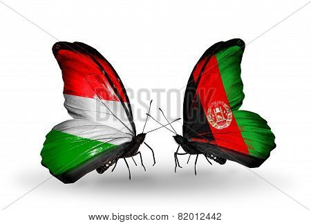 Two Butterflies With Flags On Wings As Symbol Of Relations Hungary And Afghanistan