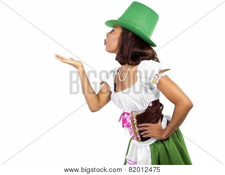 Waitress in St Patrick's Day Attire