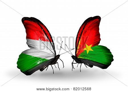 Two Butterflies With Flags On Wings As Symbol Of Relations Hungary And Burkina Faso