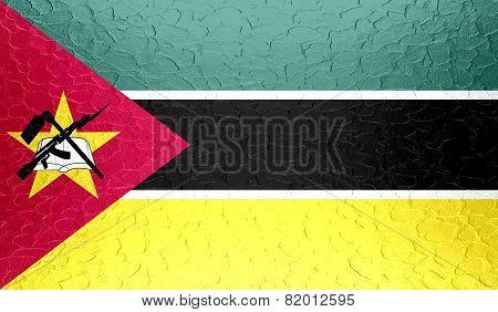 Mozambique flag on metallic metal texture
