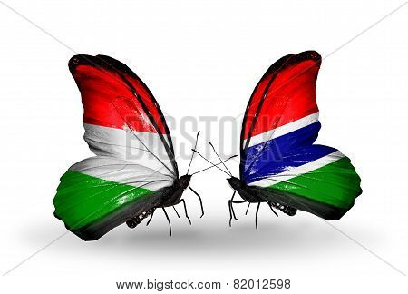 Two Butterflies With Flags On Wings As Symbol Of Relations Hungary And Gambia