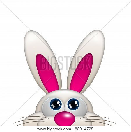 Easter Cartoon Bunny Looking Up Isolated Over White