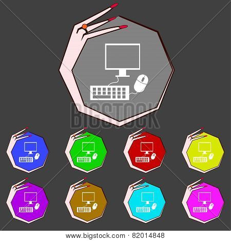 Computer Widescreen Monitor, Keyboard, Mouse Sign Icon. Set Colourful Buttons. Vector