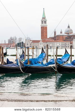 Venetian Gondolas With High Tide.