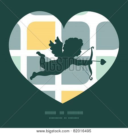 Vector abstract gray yellow rounded squares shooting cupid silhouette frame pattern invitation greet