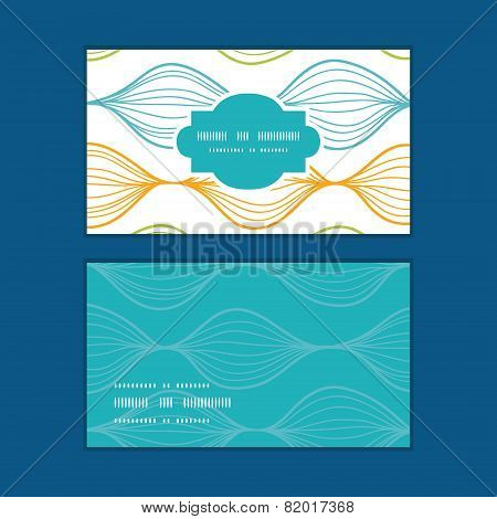 Vector colorful horizontal ogee horizontal frame pattern business cards set