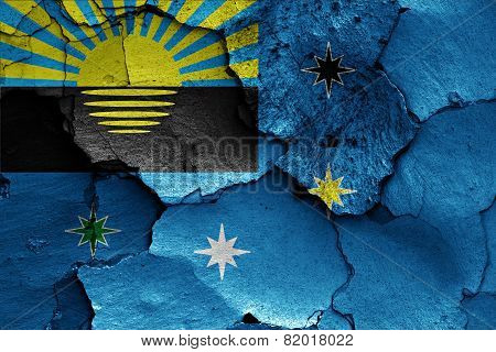 Flag Of Makiivka Painted On Cracked Wall