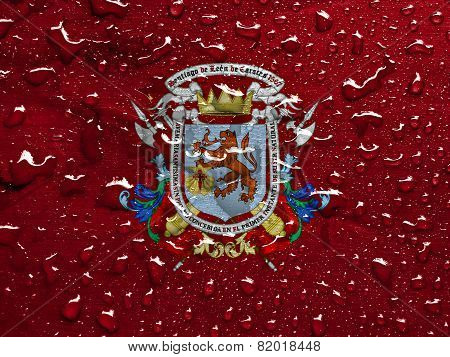 flag of Caracas with rain drops