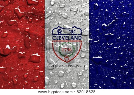 flag of Cleveland with rain drops