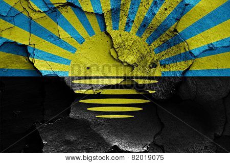 Flag Of Donetsk Oblast Painted On Cracked Wall