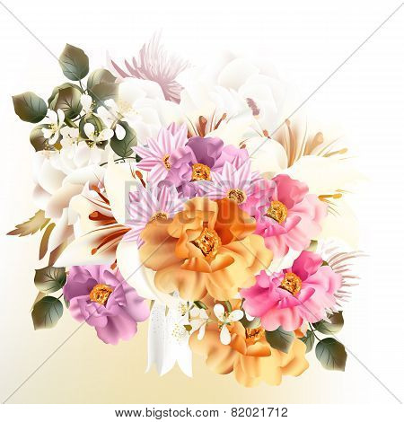 Beautiful Bouquet Of Flowers For Design