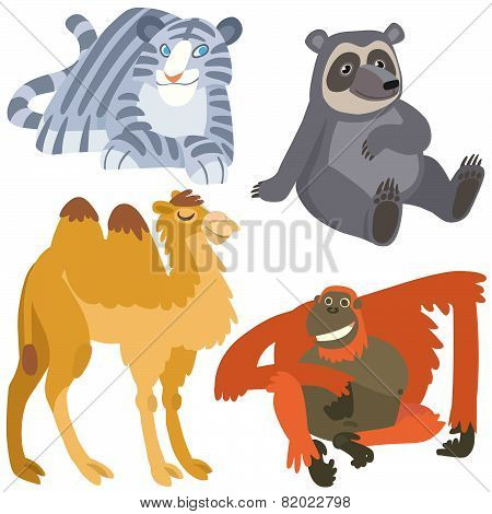 Cartoon Asian Animals Set