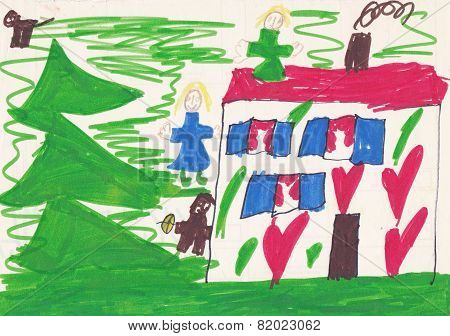 Child Picture Of House With People And Animals