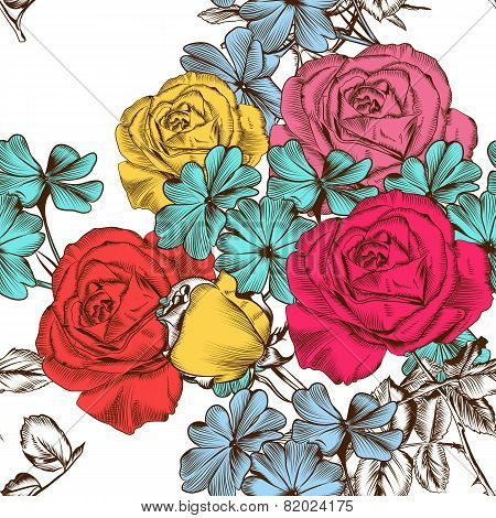 Floral Seamless Pattern With Colorful Roses