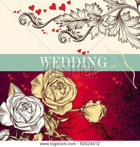 Wedding Valentine's Day Invitation Card With Roses And Hearts