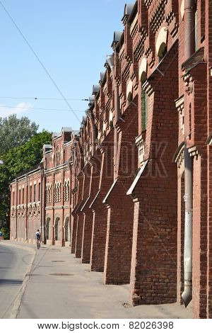 The Wall Of Old Factory Building.