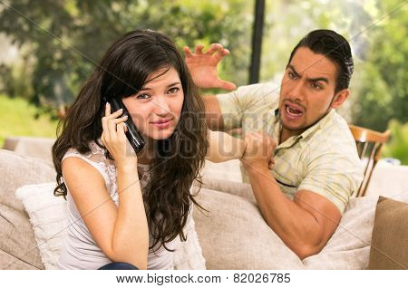 married couple fighting at home