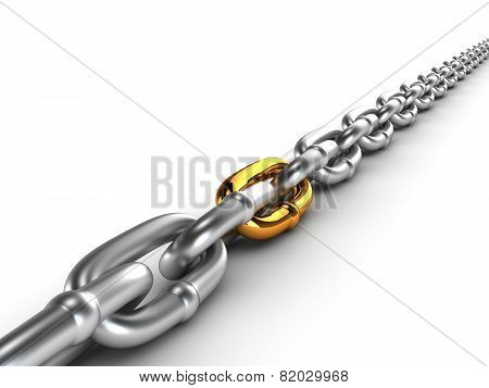 Chrome chain with a gold link