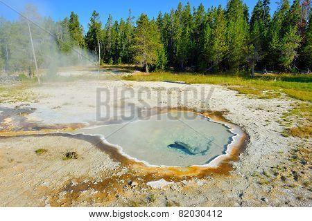 Geyser Pool In Upper Geyser Basin Of Yellowstone National Park, Wyoming