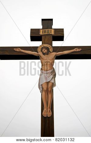 Crucifixion of Jesus Christ on a cross