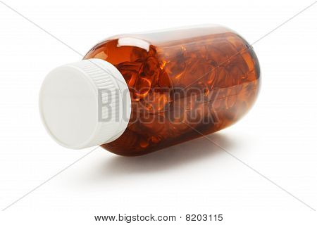 Capsules In Glass Bottle
