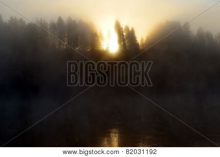 Sun Shining Through The Fog Over The River And Trees In Hayden Valley Of Yellowstone National Park I