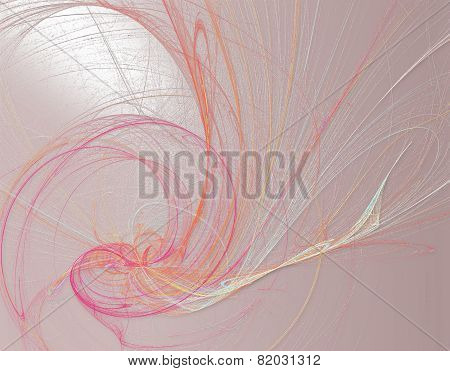 Romantic Line Art Painting In Pink Spectrum