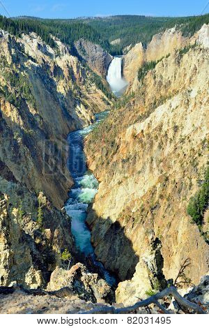 Waterfall In The South Rim Of The Canyon Of The Yellowstone In Wyoming During Summer