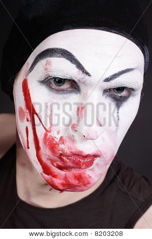 Mime With Blood On Face