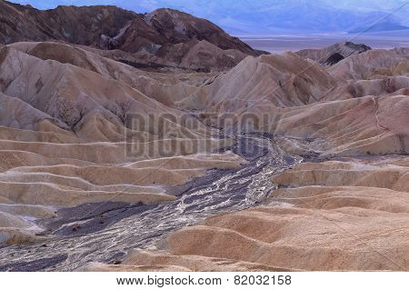 Parched riverbed on erosional landscape