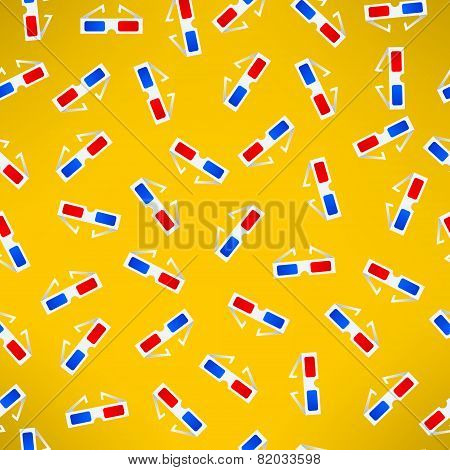 Cinema 3d glasses seamless patter. Modern movie theater background. Vector