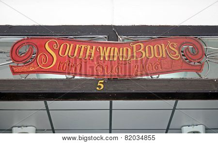 Phuket, Thailand-Sept,22 2014: Known bookstore South Wind Books in the old town. Phuket, Thailand
