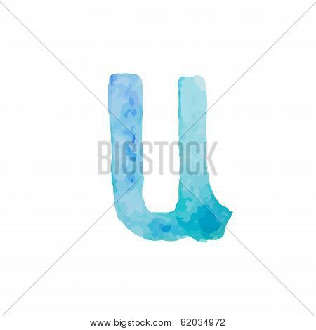 Letter U Colorful watercolor aquarelle font type handwritten hand draw doodle abc alphabet letters