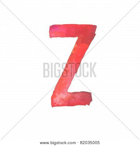 Letter Z Colorful watercolor aquarelle font type handwritten hand draw doodle abc alphabet letters