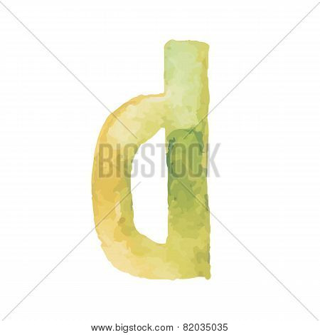 Letter D Colorful watercolor aquarelle font type handwritten hand draw doodle abc alphabet letters