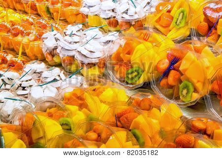 Different fruit salads for sale
