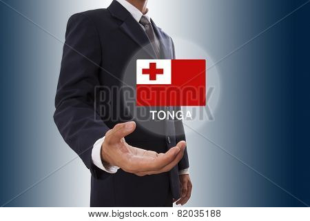 Businessman hand showing Tonga Flag