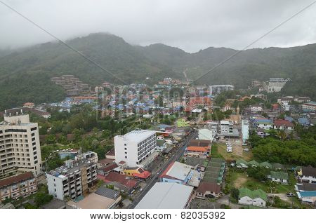 Phuket,TH-Sept,24 2014:Top view of Karon on a cloudy day - the second largest recreation center