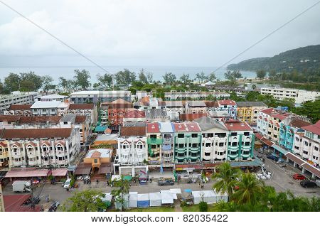 Phuket,TH-Sept,24:Top view of Karon - the second largest recreation center on Phuket on a cloudy day