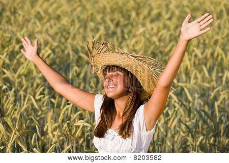 Happy Woman Enjoy Sun In Corn Field