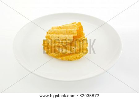 Potato Crisps On White Background