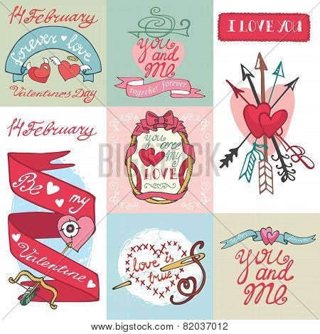 Valentines day cards set.Labels,frames,decorative elements