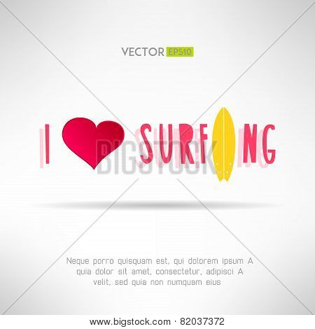 Bright colorful surfing tshirt print. Love heart sign with surfing board. Vector