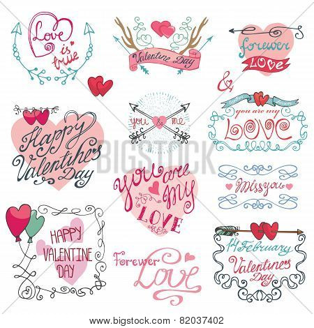 Valentines day calligraphy set.Frame,arrows,hearts,decorative e