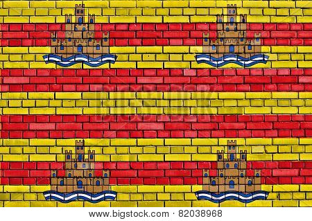 Flag Of Ibiza Painted On Brick Wall