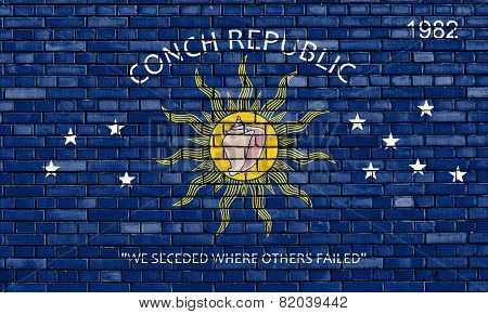 Flag Of Key West Painted On Brick Wall