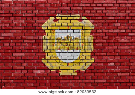 Flag Of La Serena Painted On Brick Wall