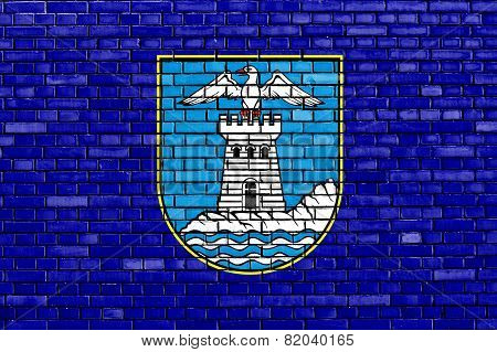 Flag Of Opatija Painted On Brick Wall